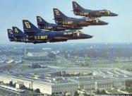 Blue Angels A-4F Skyhawk over Pentagon