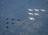 Blue Angels and Thunderbirds America Strong flyover. (U.S. Air Force photo/Staff Sgt. Cory W. Bush