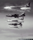 Blue Diamonds Hawker Hunters in formation with RAF Lightnings
