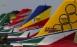 Frecce Tricolori painted aircraft tails in colors of Cavallino Rampante, Tigri Bianche, Getti Tonanti, Diavoli Rossi and Lanceri Neri. Photo by Aeronautica Militare