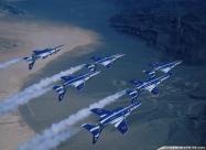 Blue Impulse Kawasaki T-4 over Nevada. Nellis AFB airshow 1997