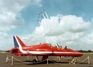 Red Arrows Folland Gnat over team next aircraft the Hawk