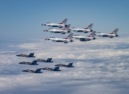 Blue Angels and Thunderbirds America Strong flyover. (U.S. Air Force photo/Staff Sgt. Cory W. Bush)