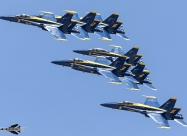 Blue Angels in 7-ship formation during America Strong flyovers. The seventh plane is a photo chase. Chicago May 12. Photo by Ivan Voukadinov