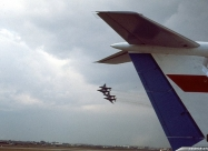 Blue Angels F-4J and Soviet IL-62 tail in front