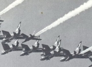 Red Arrows Folland Gnat in formation with RAF Lightnings