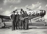 Skyblazers Pilots: from left to right Buck Pattillo, John Patrick O'Brien (Obie), Harry Evans, Dag Damewood and Bill Pattillo . Photo via Kelly Evans