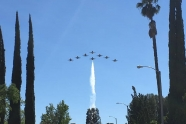 Rare and unique 8-ship flyover from Thunderbirds over Los Angeles