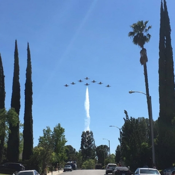 Thunderbirds over Maj. Del Bagno parents house. Photo by Cajuns Aviation Dream facebook page