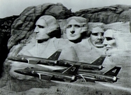 Blue Angels F11F Tiger over Mount Rushmore