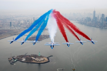 Patrouille de France over Statue of Liberty, New York, 25 March 2017. Photo Olivier Ravenel, French Air Force