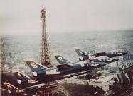 Blue Angels F11F Tiger over Eiffel Tower, Paris 1965