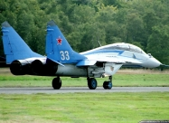 Swifts MiG-29 old paint scheme. Zoersel Airshow 1993. Photo by Jean-Marie Hanon