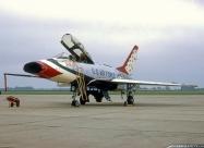 Thunderbirds F-100D Super Sabre. Photo by Clyde Gerdes. July 9, 1967 Sioux City Airshow. Photo by Bob Denham