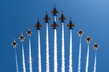 Blue Angels and Thunderbirds in Super Delta Formation. EL CENTRO, Calif. Mar. 02, 2021. U.S. Navy photo by Mass Communication Specialist 2nd Class Cody Hendrix