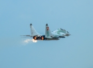 Bulgarian Air Force MiG-29 and nozzles sparks from the incident