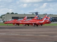 Red Arrows. Rare opportunity to see the team take offs in four aircraft. The team flew in ten-ship formation for photography purposes.