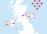 Red Arrows 75 VJ Day flypasts map