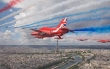 Red Arrows and Patrouille de France over Paris. Image by Red Arrows photographer Corporal Adam Fletcher of the jets over Paris with the Eiffel Tower prominent.