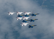 Blue Angels and Thunderbirds America Strong flyover. U.S. Navy photo by Lt. Cmdr. Aaron Hicks/Released