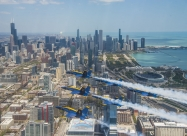 The U.S. Navy Flight Demonstration Squadron, the Blue Angels flyover Chicago on May 12, 2020. (U.S. Navy photo by LTjg Chelsea Dietlin/Released)