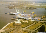 Blue Angels F11F Tiger over Statue of Liberty