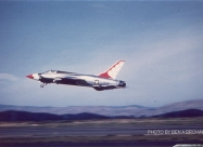 Thunderbirds F-105B Thunderchief. Hamilton AFB, CA, after Capt. Devlin's crash. The F-105s took off single-ship, instead of in formation, and were ferried to Depot in Alabama. This may have been the last time these jets were flown in Thunderbirds colors.