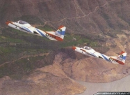 Cessna T-37 red, blue, white paint scheme from 1980 to 2009