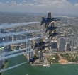 The U.S. Navy Flight Demonstration Squadron, the Blue Angels, flyover Jacksonville, Florida, May 8, 2020. U.S. Navy photo by Mass Communication Specialist 1st Class Jess Gray