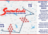 Edmonton to Rocky Mountain House flypast map and times - May 16
