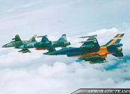 Elang Biru F-16A and Hawks in formation flight