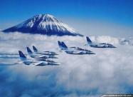 Blue Impulse Kawasaki T-4 over Mount Fuji