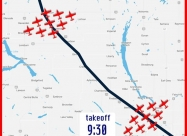 Moose Jaw to Saskatoon flypast map
