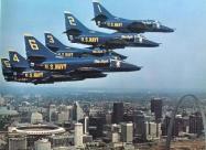 Blue Angels A-4F Skyhawk over St. Louis