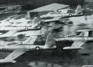 Skyblazers F-84G Thunderjet. Chaumont Airbase, France. Photo by Lt. Col. M. Detlie via Devid Menard