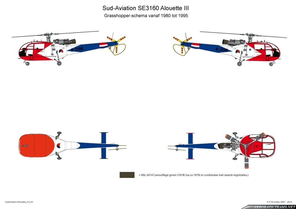 Grasshoppers Alouette III 1980-95 paint scheme. Drawing by K.W. Jonker