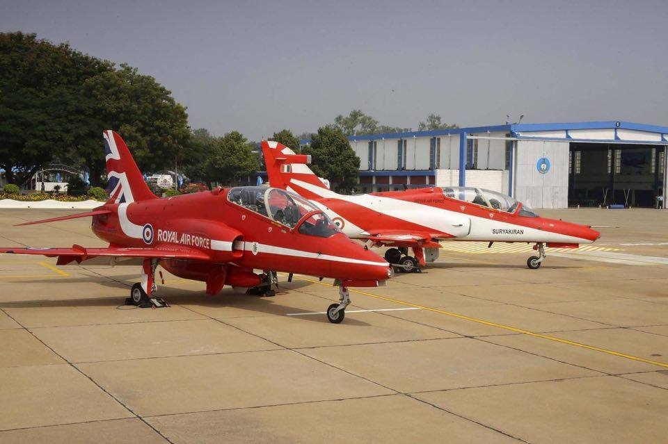 Red Arrows and Surya Kiran at Hyderabad, India. Photo RAF
