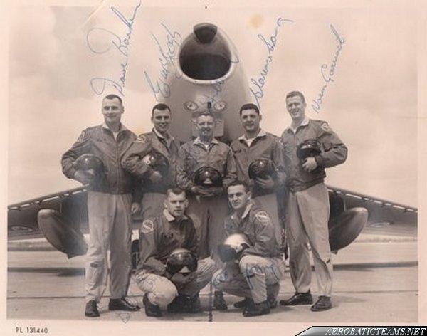 Golden Hawks Pilots with autographs: Dave Barker, Ed McKeogh, Lloyd Hubbard, Clarence Sang, Norm Garriock, Al Young, Bill Gray. (Photo via Helen Kyle)