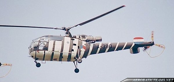 Grasshoppers Alouette III 1979 paint scheme. Photo by Herbert Budweiser