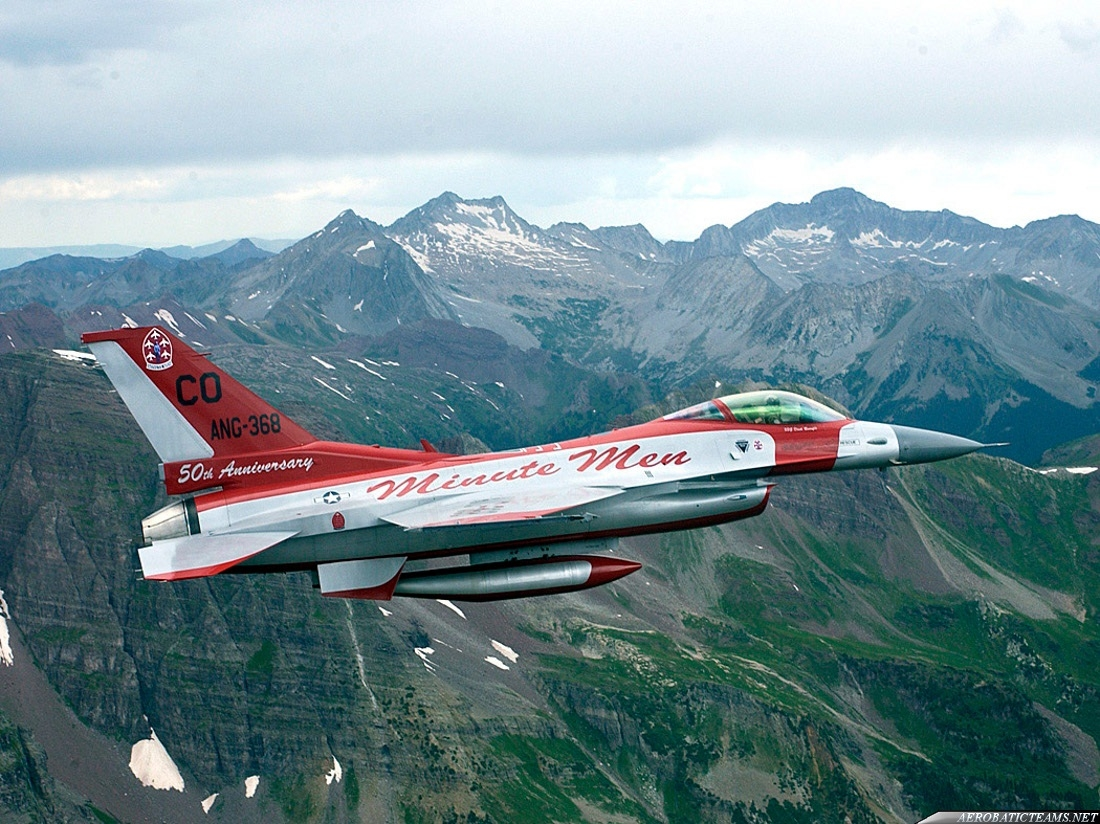 Minute Men F-16. Painted to mark the 50th anniversary of the first and only Air National Guard precision flying team