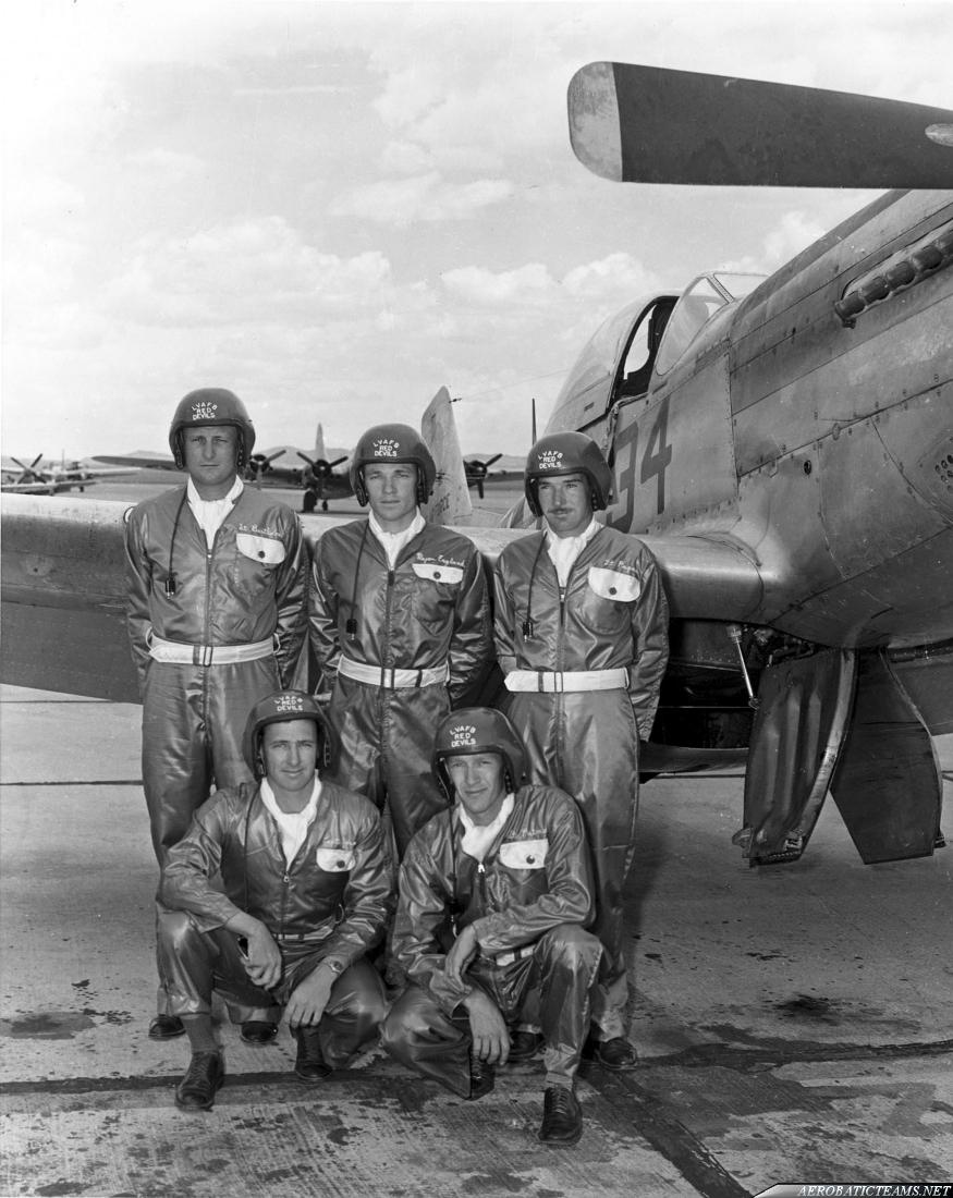 USAF Red Devils demonstration team pilots. Standing from left are Lt. Gabriel Bartholomew, Maj. John England (leader) and Lt. Leon Pagan; kneeling from left are Capt. Joe Joiner and Lt. James Putnam