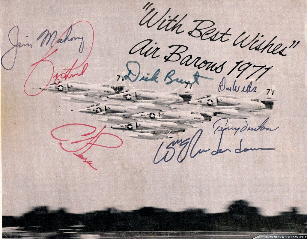 Air Barons A-4L Skyhawk at air show at Ohio in 1971. Same photo as previous, but with pilots autographs. Send by Richard Laney.