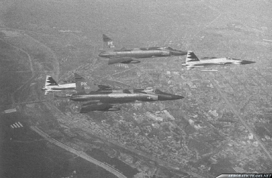 Black Eagle F-5A escorting USAF F-102s