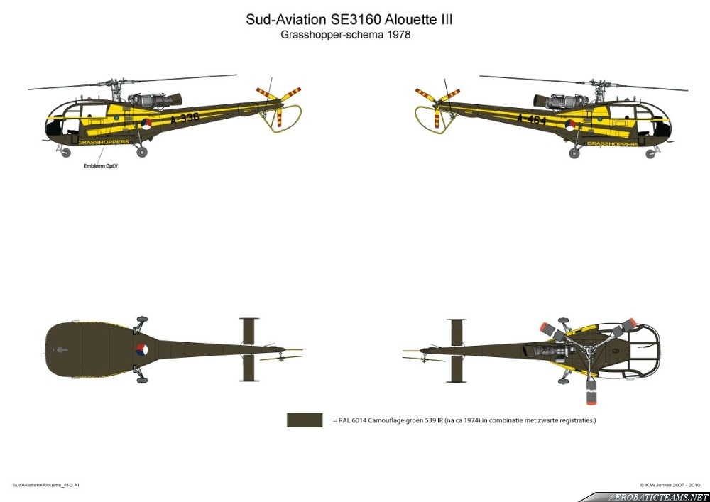 Grasshoppers Alouette III 1978 paint scheme. Drawing by K.W. Jonker