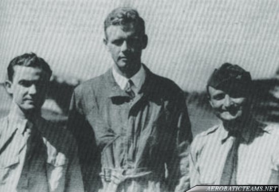 Three Musketeers pilots. From left to right: Cornelius, Lindbergh and Woodring, NAR 1928 after Lt. John J. Williams death
