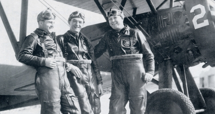 "from left to right: Lt. W.C. ""Billy"" McDonald, Capt. Claire Chennault and Sgt. J.H. ""Luke"" Wiliamson"