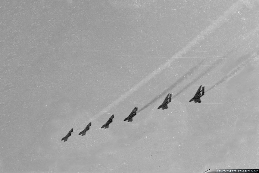 Fred's Five Sea Vixen FAW.1. Photo by Roger Colbeck. RNAS Culdrose air day, 1962. Unusual photo, as the Fred's Five was a five-ship team, but from the beginning they probably flew six Sea Vixen aircraft. Or the sixth plane was for photo shooting.