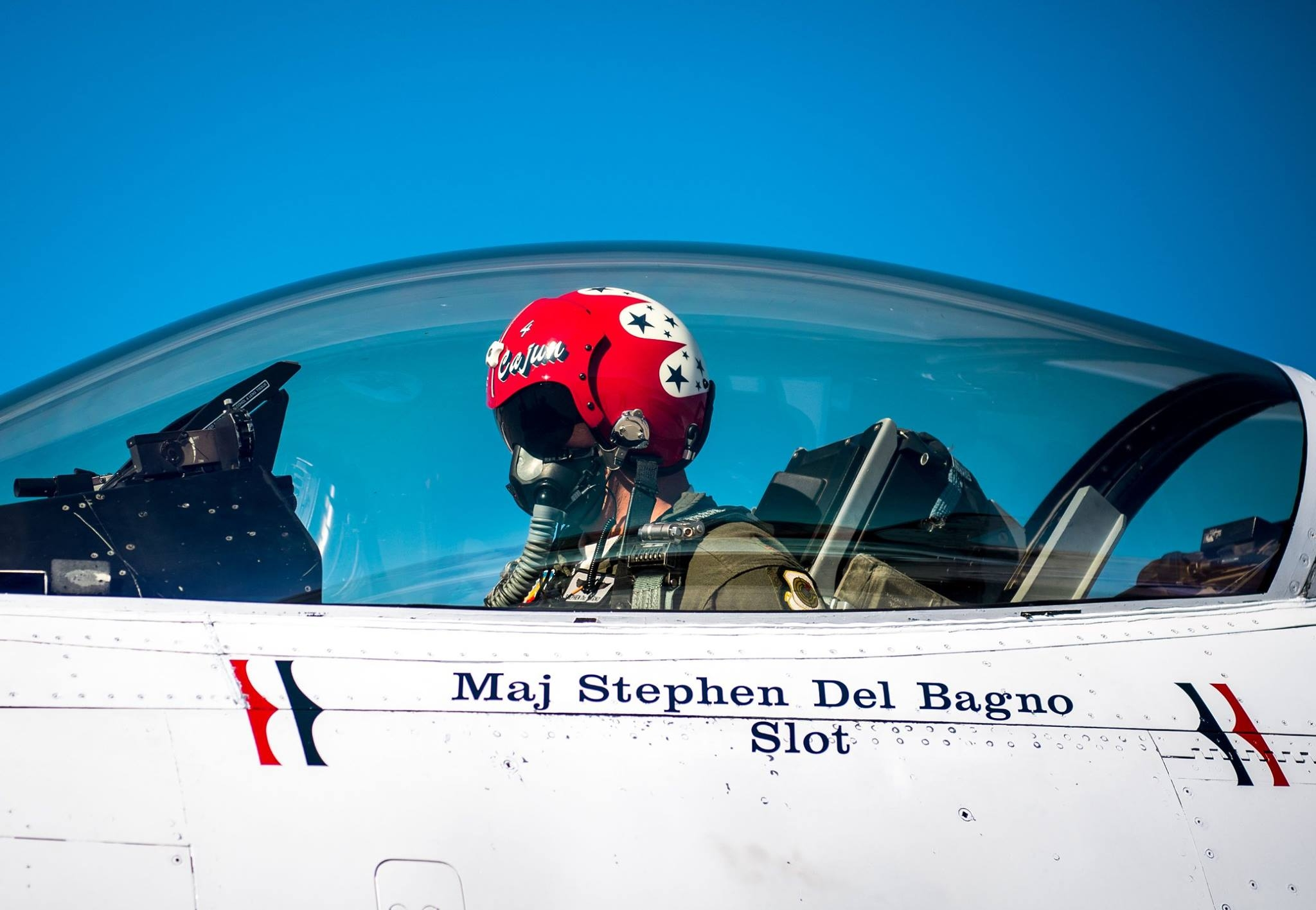 Maj. Stephen Del Bagno in F-16 #4 cockpit