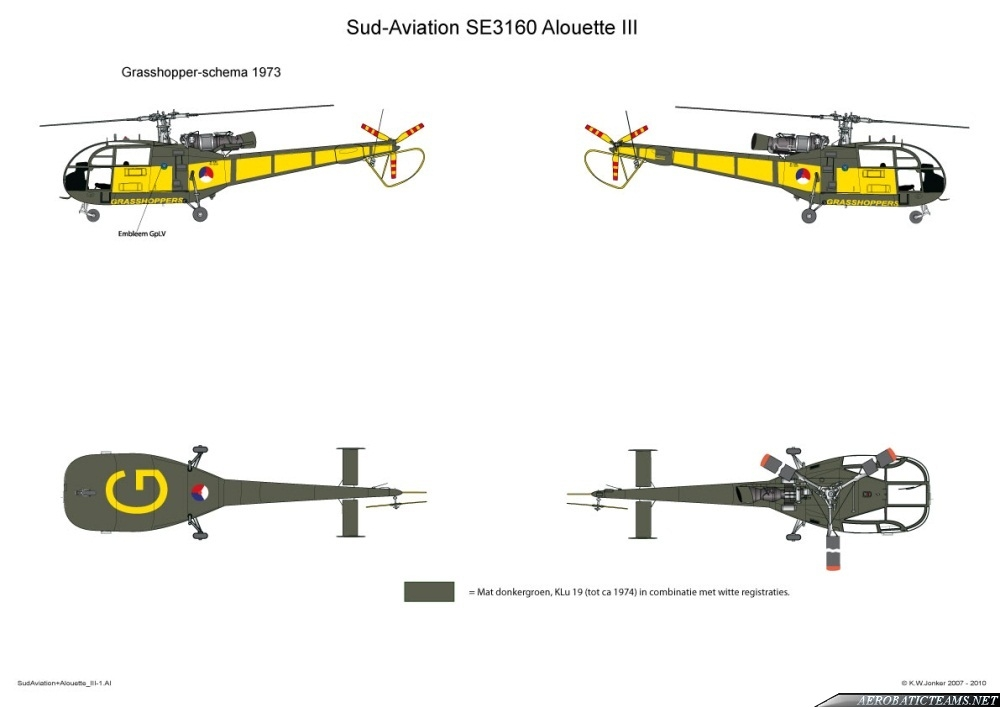 Grasshoppers Alouette III 1973 paint scheme. Drawing by K.W. Jonker
