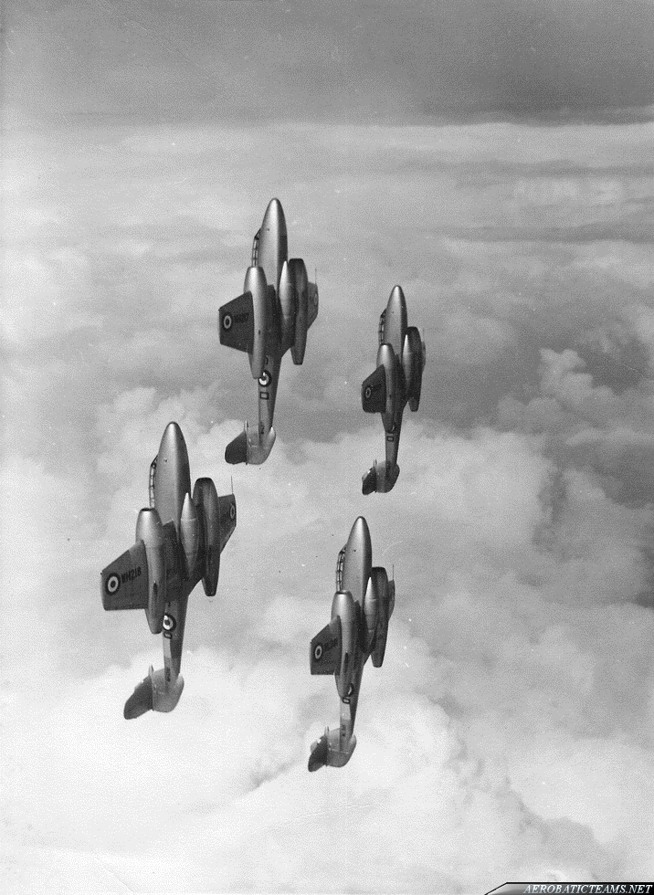 RAF Meteorites Gloster Meteor T7. Photo from Master Pilot  D.Fisher collection via A. Fisher